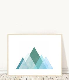 Abstract Art Print, Geometric Print, Triangle Print, Green Wall Art, Printable Art, Abstract Mountains, Instant Download  This is a digital file, ready for instant download. It can be printed on your own computer, by your local print/photo shop,or have it printed online.  Your file will contain a high resolution .jpg which will produce an excellent quality print up to 16 x 20.  Your print shop will be able to adjust the size down, if you want a smaller print, or if you are printing at h...