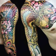 Gold Phoenix Mens Japanese Half Sleeve And Chest Tattoo