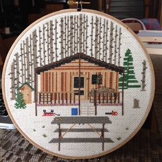 cabin in the woods (from reddit r/crossstitch)
