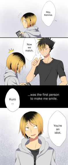 """harmonianlights:  KuroKen Month, Day 2 – First SmileKenma's smile is so rare and so very, very precious.This was originally """"the first time Kuroo did something really, and I mean REALLY stupid"""""""