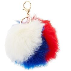 Charlotte Russe Faux Fur Ball Keychain (28 RON) ❤ liked on Polyvore featuring accessories, red combo, fob key chain and charlotte russe