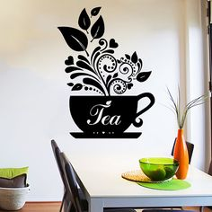 Wall Decal Tea Cup of tea Decals Cafe Dining Vinyl Stickers Murals Modern Interior Kitchen Coffee Shop Home Decor Art Design Interior