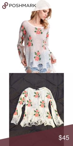Floral Sweater Top Rose flower lennon sweater top.  In excellent condition.  Size medium.  No trades.  {category3} ROMWE Sweaters