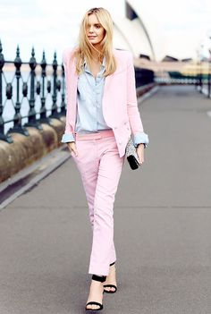 Light pink pantsuit paired with a chambray blouse