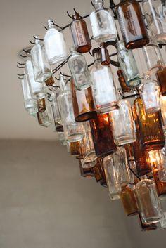 decor - vintage bottle chandelier