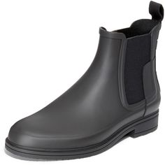 Hunter Boots Original Refined Rubber Chelsea Boots ($155) ❤ liked on Polyvore featuring men's fashion, men's shoes, men's boots, black, mens black boots, mens rubber rain boots, hunter mens boots, mens black rain boots and mens rubber boots