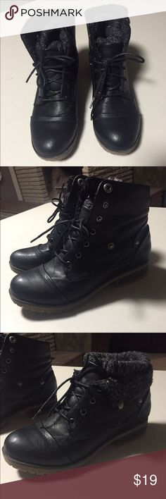 Black Ankle Rollover Boot Size 6 Black Rollover Boot, they fit more like a 7. Worn once, just a little too big for me Shoes Ankle Boots & Booties