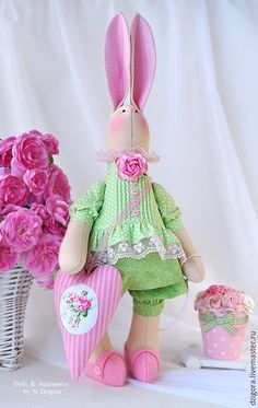 Купить Влюблённая в розы - зайка, игрушка заяц, игрушка зайка, игрушка зайчик, купить зайца