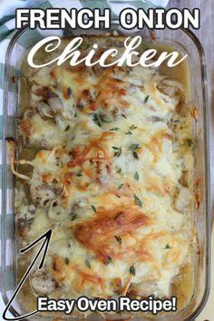 Easy Oven Recipes, Easy Chicken Dinner Recipes, Easy Casserole Recipes, Meat Recipes, Easy Meals, Cooking Recipes, Chicken Supper Ideas, Quick Supper Ideas, Onion Recipes