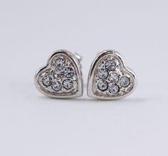 Vintage 1979 Signed Avon Heartshine Silver Tone Rhinestone Small Stud Heart Pierced Earrings by ThePaisleyUnicorn on Etsy