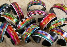 Craft Trends: Blast from the Past - FaveCrafts Diy Crafts Jewelry, Recycled Jewelry, Plastic Jewelry, Recycled Art, Hobbies And Crafts, Fun Crafts, Fabric Bracelets, Cuff Bracelets, Friendly Plastic