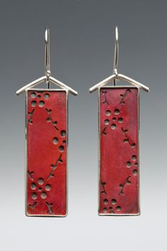 Sarah Boo Designs — Hand Pierced Rectangular Red Earrings w/Flowers & Vines