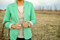 mint blazer, neutral stripes, ivory & gold ...