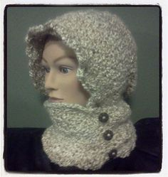 Have a ball of Lion Brand Homespun yarn? Hook up a Crochet Hooded Infinity Scarf with Buttons. http://dearestdebi.com/crochet-hooded-infinity-scarf