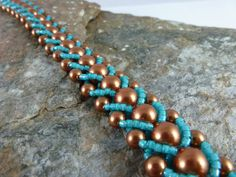 Men's Bracelet in Copper and Turquoise Colors by SierraBeader, $60.00