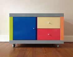 Materials: Expedit 2x2 and 1x1, inserts with door and drawers  Description: First of all, visit gerhard-richter.com and search some colour-combinations you