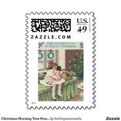 Christmas Morning Tree Present Girl Doll Stamps