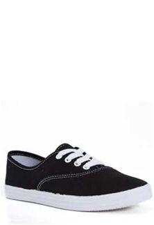 Soda Shoes Bigeye Canvas Sneakers in Black