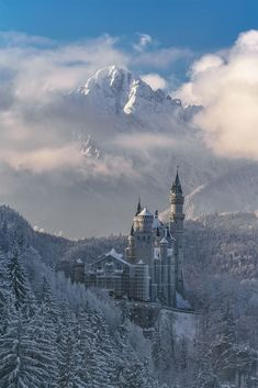 Neuschwanstein Castle Bavaria Winter Fairytale by Achim Thomae Germany Castles, Neuschwanstein Castle, Fantasy Landscape, Belle Photo, Paris Skyline, Amsterdam, Fairy Tales, Places To Go, Beautiful Places