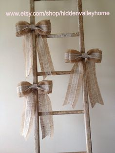 burlap and lace window decor | Burlap lace bow---pew bow, rustic, shabby, wedding