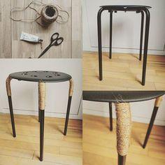 Tabouret Marius IKEA transformé avec corde. Upcycling - DIY - Ikea hack made by crea.sarah Nuevos taburetes #ikeahack #manualidades #diy #barcelonacreativa #hazlotumismo #hechoamano #creando