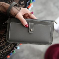 Shock-Resistant And Antimagnetic Popular Brand Womens Fashion Outdoor Leisure Zipper Wallet Card Holder Clutch Coin Purse High Quality Leather Handbag Colorful Joker Purse Waterproof Storage Bags