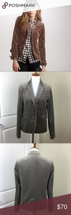 """J. Crew Schoolboy Blazer in Velvet Size 8T Tall J. Crew Schoolboy Blazer in Velvet Size 8T Tall. Color is cobblestone. Item #30792. Excellent pre-owned condition, stored in original garment bag. Plush velvet with a slightly shrunken, chicer fit & haberdashery-inspired design lapel buttonhole & a ticket pocket. Lapel collar. Welt pockets with flaps, chest welt pockets. Sleeve vents with buttons. Back vent. Fully lined. Hits at hip. Measurements flat & buttoned: chest: 19"""", length: 24""""…"""