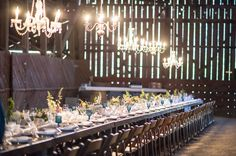 Stunning crystal chandeliers hung in a barn wedding venue. {Photo courtesy of Le Festin Events via Project Wedding} Wedding Planning Pictures, Wedding Photos, Wedding Ideas, Wedding Blog, Wedding Stuff, Dream Wedding, Wedding Decorations, Rustic Wedding Inspiration, Rustic Wedding Flowers