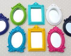 Kit 8 Espelhos Coloridos e Laqueados