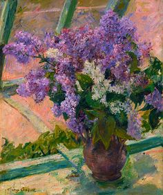 Lilacs in a Window (Vase de Lilas a la Fenetre)Artist: Mary Cassatt (American, Pittsburgh, Pennsylvania Le Mesnil-Théribus, Oise)Date: ca. AmericanMedium: Oil on canvasDimensions: 24 x 20 in. x cm)Classification: Paintings Mary Cassatt, Renoir, Art Floral, Floral Style, Floral Wall, American Impressionism, Yennefer Of Vengerberg, Oil Painting Reproductions, Oeuvre D'art