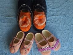 Special Order for Kate: Family of 4 felted slippers by Louisa Rull @ FeltSoapGood