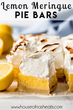 These aren't your average lemon bars! With a silky filling that is thickened before baking and a towering cloud of sweet billowy marshmallow meringue on top, these Lemon Meringue Pie Bars are a lemon lover's dream come true! #ad #lemon #meringue #pie #bars #lemonbars #lemonmeringuepie #best #easy #homemade #dessert #citrus Lemon Meringue Pie, Lemon Bars, Sweet Bread, Brunch Recipes, Good Food, Sweets, Homemade, Cookies, Baking
