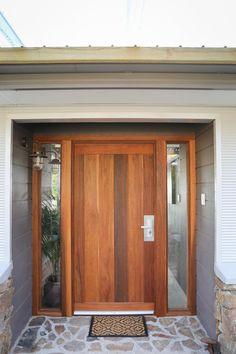 custom made rustic timber front door Timber Front Door, Front Doors, Custom Made, Beach House, Garage Doors, Farmhouse, Exterior, Rustic, Outdoor Decor