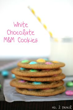 Delicious White Chocolate M and M Cookies from Melissa @no2pencilblog