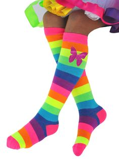 43336f23f74 Butterfly Socks Rainbow Knee Socks Birthday Gift Socks Boot Sock Butterfly  Outfit Glow Fun Party Socks Pink Purple Neon Colorful Dress Socks