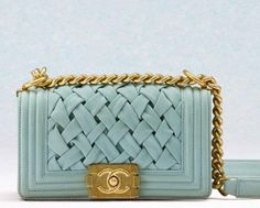 love this pale blue Chanel Boy Bag