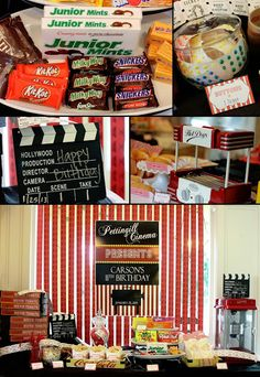 Movie Party Ideas - bring every kind of candy imaginable. This would be a fun sleepover idea. 13th Birthday Parties, 11th Birthday, Birthday Party Themes, Birthday Ideas, Outdoor Movie Party, Movie Night Party, Game Night, Party Time, Fun Sleepover Ideas