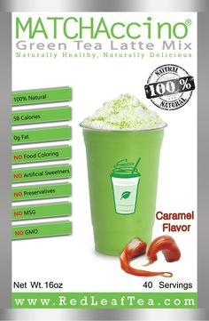 Naturally Flavored Green Tea Frappe Mix. www.Matchaccino.com