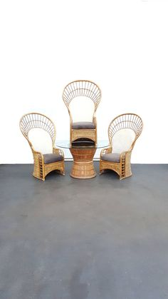 5 Pc Bamboo Peacock Chair / Fan Chair / Patio Table / Dining Set / Bamboo  Chair/ Emmanuel Chair / Boho Woven Rattan Glass Table And Chairs