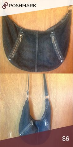 Black denim purse with long strap Cute black denim purse with pockets on the outside. Bags Shoulder Bags