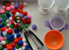 Pom Pom Ice Cream Shop - Sensory Role Play.  Shared by Blog Me Mom