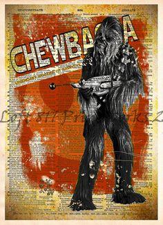Star Wars Art,  Chewbacca,  Vintage Silhouette print, Retro Star Wars Art, Dictionary print art