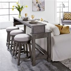 Modern Farmhouse 4 Piece Console Table Set in Dusty Charcoal Finish by Liberty Furniture - Sofa Tables, Console Table, Bar Furniture, Modern Furniture, Living Furniture, Bar Table Sets, Bar Set, Liberty Furniture, Living Room Seating