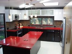 HOW ABOUT THIS?!!!!   red countertops - Google Search