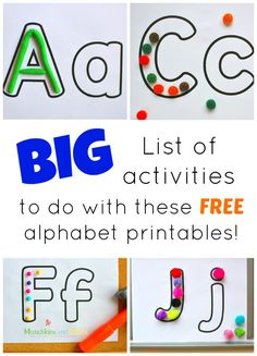FREE alphabet printables and Activity Ideas to go along with them! Great fir preschoolers and letter of the week ideas.