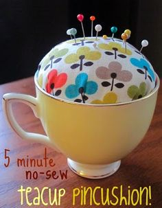 DIY: No-Sew Teacup Pincushion: Hi & Hello! Kelly here from The Spotted Fox. Check out this no-sew, teacup pincushion! Great for the crafter/seamster in your life. Check out the full project HERE. Sewing Hacks, Sewing Crafts, Sewing Projects, Diy Projects, Sewing Kits, Sewing Patterns, Scrap Fabric Projects, School Projects, Little Presents