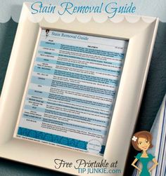 Printable Stain Removal Guide  for the Laundry Room.