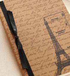 Eiffel Tower Journal French Script mini notebook by ThePurpleTable, $9.00