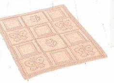 Butterfly motif pram blanket baby  vintage knitting by Ellisadine