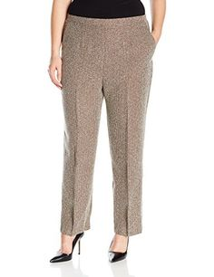3b8bfbda3c9 Alfred Dunner Womens Plus Size Med Check Tweed Pant Chocolate 20W     You  can